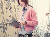秋冬季新款韩国代购同款韩版开衫短款可爱糖果色毛衣外套