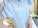 韩版衣服 甜美木耳袖 露肩小萝莉镶砖雪纺