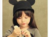 韩版秋冬季儿童米奇耳朵呢子帽子 男女童宝宝羊毛呢子厂家批发