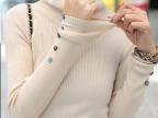2014韩版秋装新款贝壳扣高领螺纹针织衫/针织打底衫毛衣线衣女