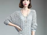 2015春秋薄女式韩版v领蝙蝠衫套头镂空罩衫毛衣针织衫女厂家直销