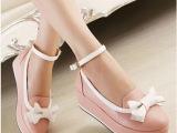 日系vivi甜美蝴蝶结坡跟少女单鞋圆头松糕厚底防水台女鞋