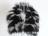 狐狸毛镶嵌白色貉子毛毛领 花色方领 棉服羽绒服配件 厂家批发价
