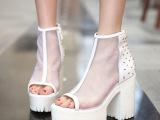 夏季韩版新款鱼嘴网纱透气厚底罗马高跟粗跟牛皮凉鞋铆钉女鞋子