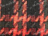 厂家直供 羊毛粗纺色织腈涤纶面料红黑金银丝千鸟格 秋冬女装面料