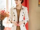 春秋新款韩版短款修身风衣 双排扣女装 小外套