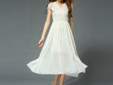 2015春夏女装欧美风雪纺连衣裙长款高腰蕾丝长裙一件代发A字裙