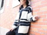 厂家直销秋冬毛衣新款女中长款针织开衫韩版格纹羊毛外套撞色批发