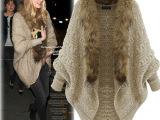 2014秋冬新款欧美女装宽松毛领蝙蝠袖针织开衫外套加厚长袖针织衫