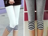 夏季韩版女士莫代尔纯棉打底裤时尚大码脚口拼接黑白条纹七分裤子