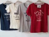 外贸原单女装 品牌纯棉水洗植绒印花女式短袖T恤