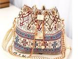 2015新款民族风帆布印花珍珠链条抽绳水桶单肩包斜挎包女包批发