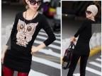 2014新款韩版黑色显瘦中长款打底衫4个色T恤 立体猫头鹰图案