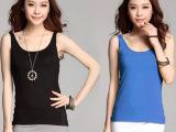 2014夏新款韩版女装 短款大领衫 u领背心 低领时尚百搭纯棉打
