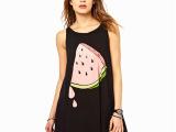 8127#欧美可爱夏日一片西瓜印花宽松款黑色背心裙haoduoy