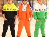 2014冬装新款 韩版男童女童骷髅头加厚卫衣三件套儿童休闲套装