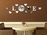厂家直销DIY创意家居装饰 Love 爱心镜面墙贴客厅新房挂钟