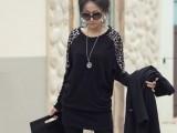 韩版新款大码豹纹拼接长袖T恤 秋装女士长款蝙蝠衫宽松上衣