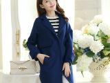 2014秋冬新款韩版修身女装外套长款开衫西装领大衣8828