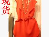 韩国东大门代购 夏装新款无袖短裙 韩版修身显瘦红色连衣裙子