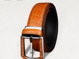 SL泰国正宗鳄鱼皮皮带 男士2013新款针扣真皮手工腰带正品 橙