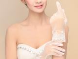 新款韩式新娘手套蕾丝边短款水晶纱婚纱礼服结婚配饰