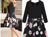 现货2014早秋新款欧美时尚黑红印花气质潮流连衣裙
