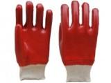 红耐油工业劳保手套耐磨 PVC浸胶罗口 批发