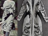 欧洲站秋冬女装  抽象人物蝙蝠袖宽松长款开衫针织衫外套