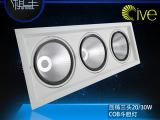 新款20W/30W压铸豆胆灯三头套件 AR111斗胆灯COB天花