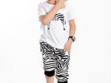 青岛童装 厂家直销套装 2014韩版夏款 斑马儿童套装一件起批