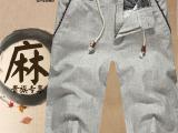 厂家直销2014夏季棉麻五分裤 民族风亚麻中裤 男夏装复古5分裤