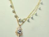 韩版饰品 水晶皇冠钥匙多层珍珠长款项链 女 毛衣链 装饰项链