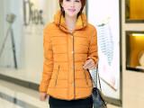 2014冬装新款修身保暖加厚纯色大码羽绒服短款棉服女