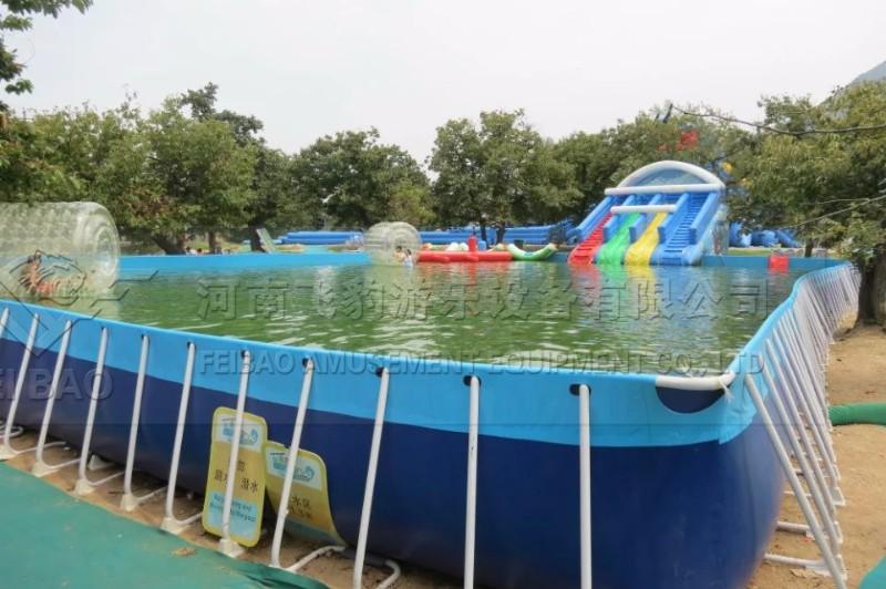 儿童水上乐园价格 移动支架水池 充气水滑梯