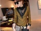2014新年新款 女人味蕾丝设计羊卷毛豆沙绿波点打底衬衫女