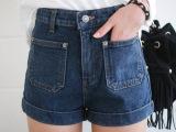 2015时尚夏潮韩版裤子显瘦胖mm加大码女高腰牛仔短裤一件代发