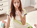 2015新款韩版夏季短袖纯棉女绿色可爱晨芬时尚睡衣爆款