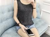 4元夏女装个性拼色修身显瘦针织背心女短款韩版外穿上衣