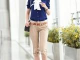 2014高端韩版蓝色衬衣OL通勤修身雪纺女款短袖衬衫送领带