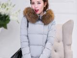 2015时尚韩版A字版棉服 加厚带帽毛领女式羽绒服 长款棉袄外套