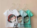 女童卡通音乐女孩短袖t恤 3色入 外贸童装批发 At121515