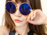 813欧美箭头复古圆形金属太阳眼镜反光水银镜面黑色墨镜太阳镜