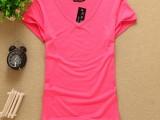 6元批发短袖T恤女士2018夏季韩版新款V领修身女上衣女装