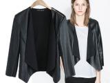 2014春装新款欧美肩部拉链皮质拼接棉料混纺黑色小外套开衫女批发