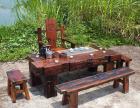 老船木茶台古船木茶乌金石茶几船木家具