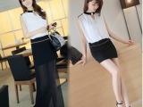 2014夏装韩版V领包臀两穿性感修身女装无袖雪纺连衣裙