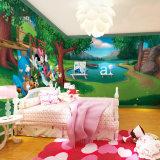 卡通主题房背景壁纸 儿童卧室迪士尼唐老鸭