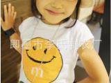 厂家直销 韩版童装 大额批发童装 笑脸套装 短袖+中裤套装