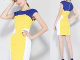 欧美高端女装连衣裙夏 蓝色黄色白色拼接女士连衣裙网店一件待发